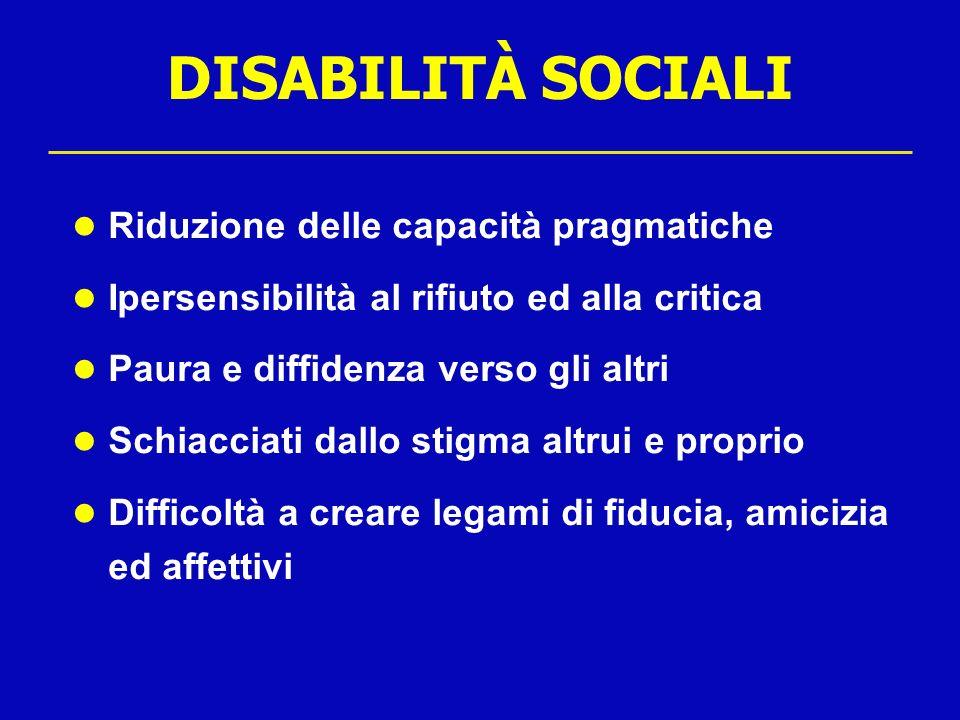 DISABILITÀ SOCIALI Riduzione delle capacità pragmatiche