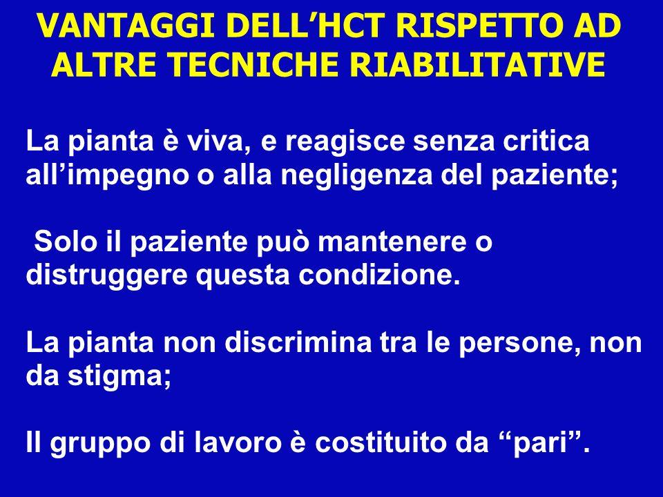 VANTAGGI DELL'HCT RISPETTO AD ALTRE TECNICHE RIABILITATIVE