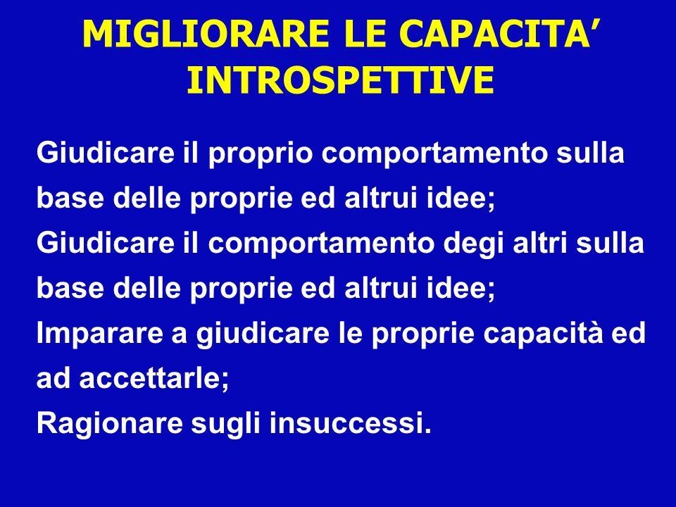 MIGLIORARE LE CAPACITA' INTROSPETTIVE