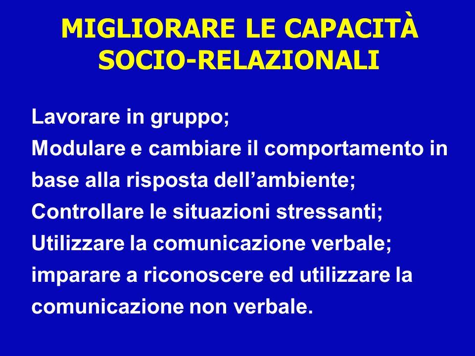 MIGLIORARE LE CAPACITÀ SOCIO-RELAZIONALI