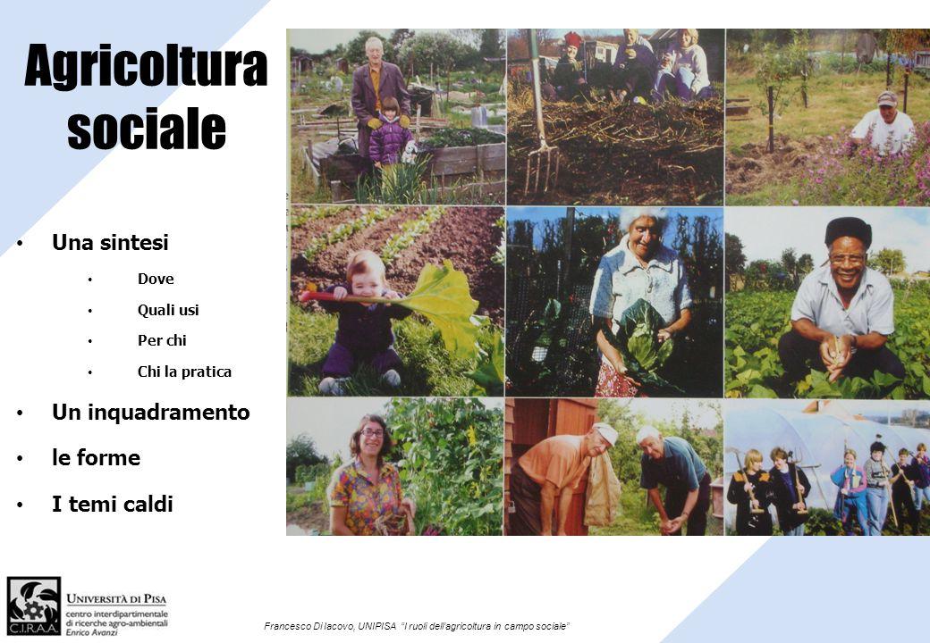 Agricoltura sociale Una sintesi Un inquadramento le forme I temi caldi