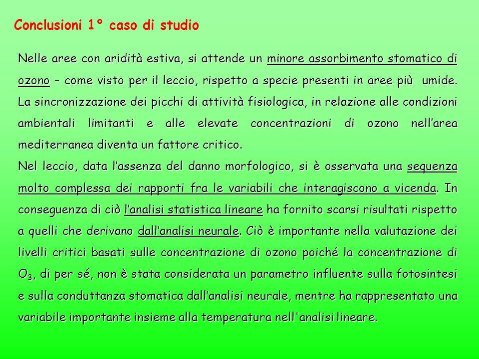 Conclusioni 1° caso di studio