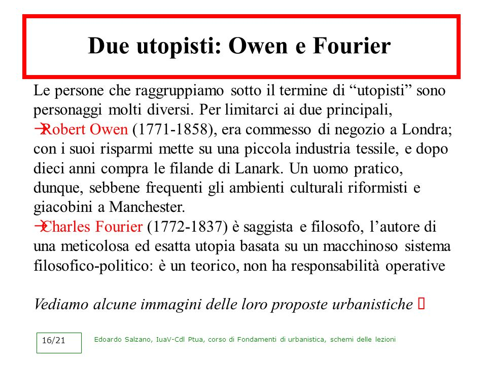 Due utopisti: Owen e Fourier
