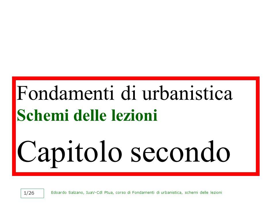Capitolo secondo Fondamenti di urbanistica Schemi delle lezioni