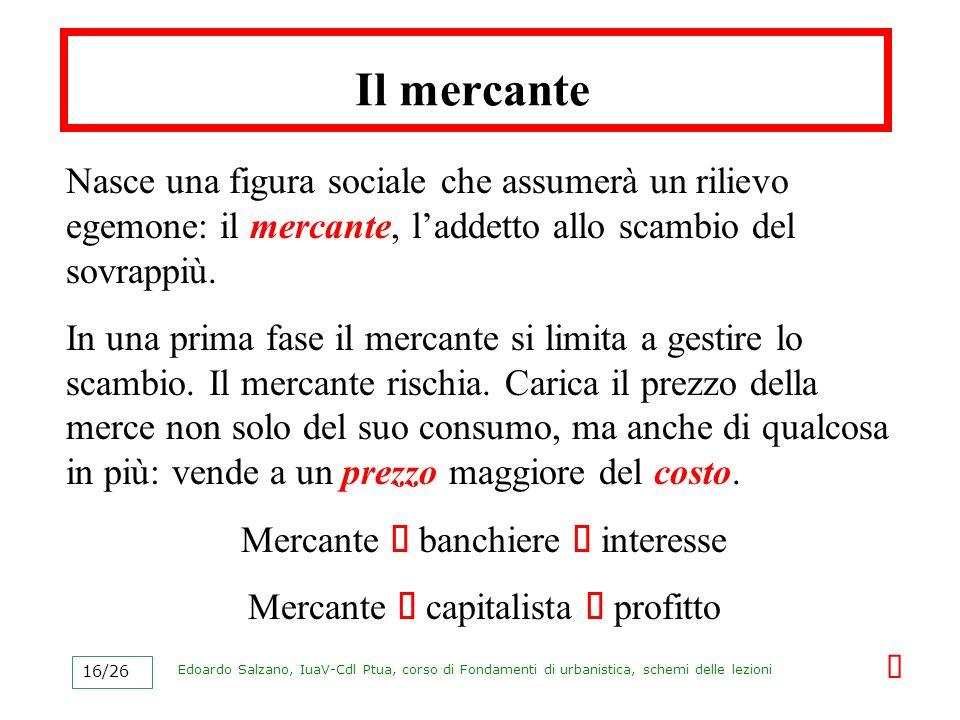 Il mercante Nasce una figura sociale che assumerà un rilievo egemone: il mercante, l'addetto allo scambio del sovrappiù.