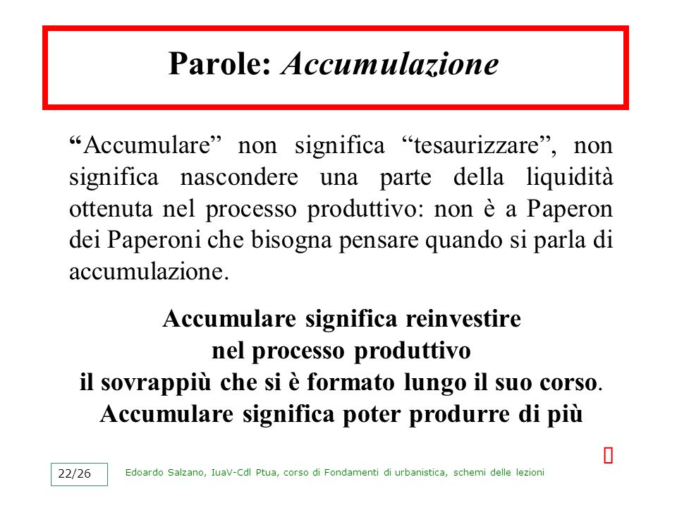 Parole: Accumulazione
