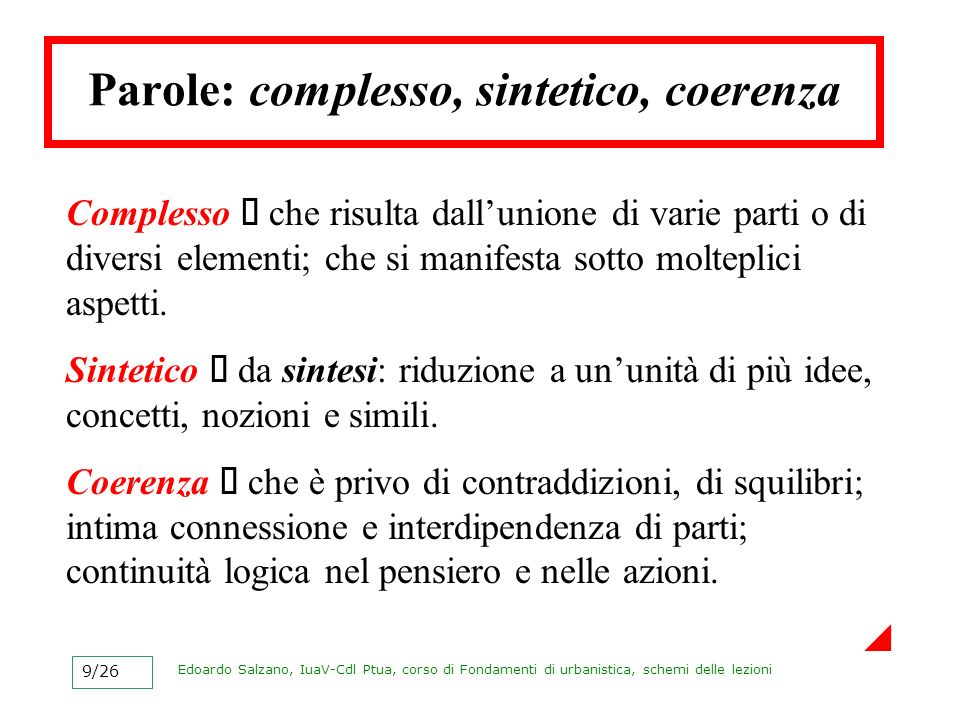 Parole: complesso, sintetico, coerenza