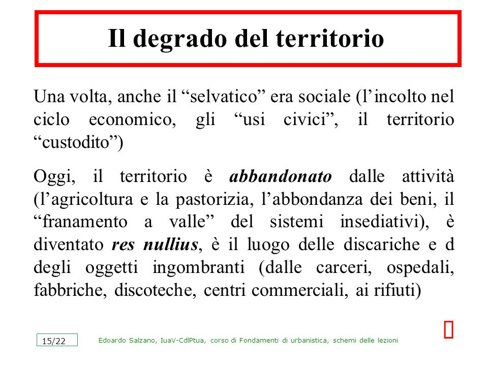 Il degrado del territorio