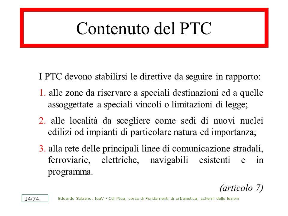Contenuto del PTC I PTC devono stabilirsi le direttive da seguire in rapporto: