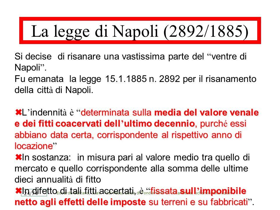 La legge di Napoli (2892/1885) Si decise di risanare una vastissima parte del ventre di Napoli .
