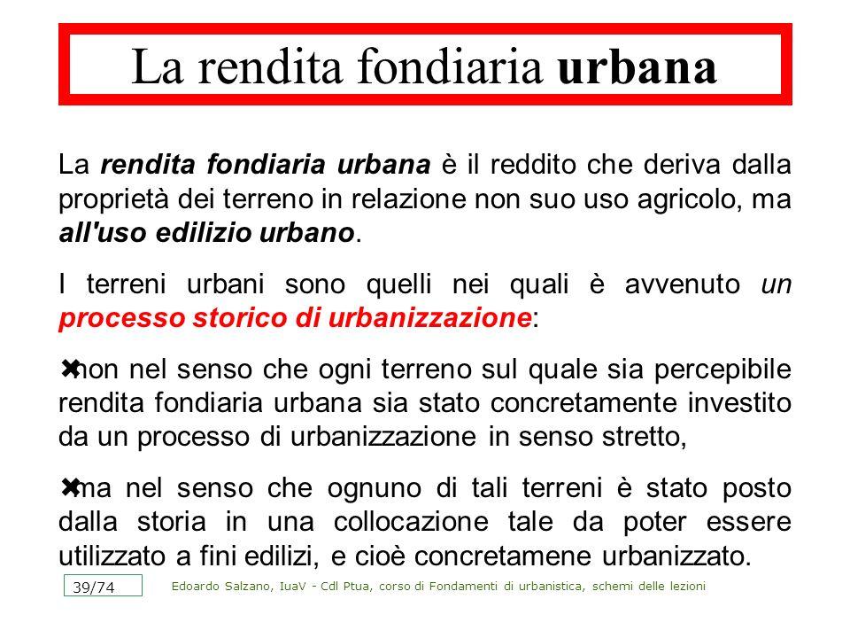 La rendita fondiaria urbana