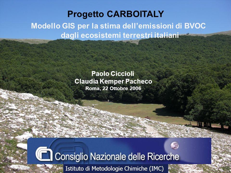 Progetto CARBOITALY Modello GIS per la stima dell'emissioni di BVOC