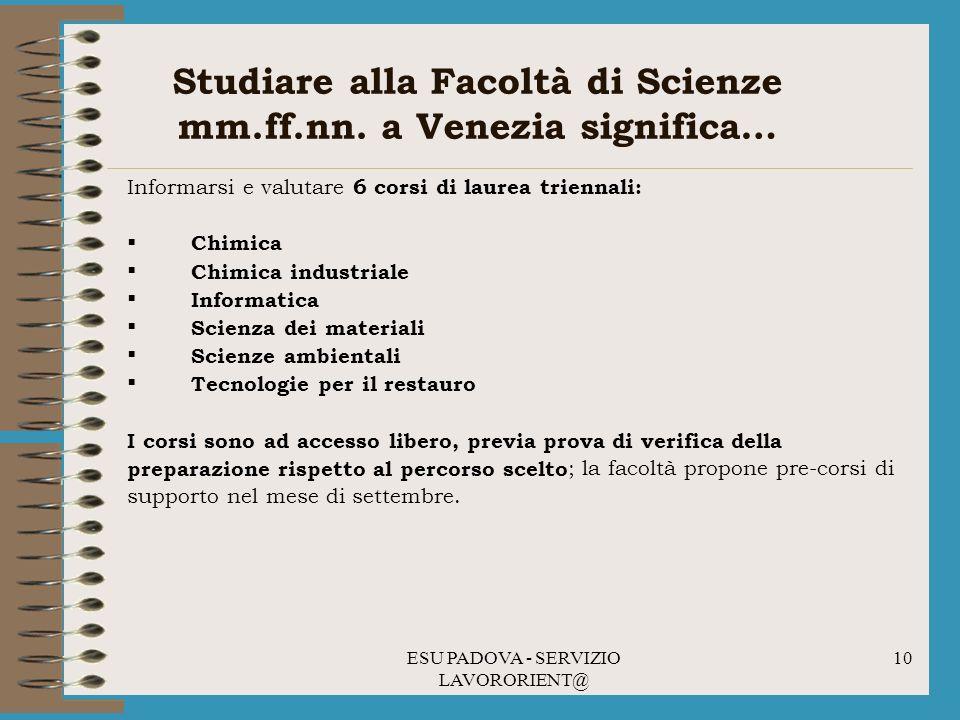 Studiare alla Facoltà di Scienze mm.ff.nn. a Venezia significa…