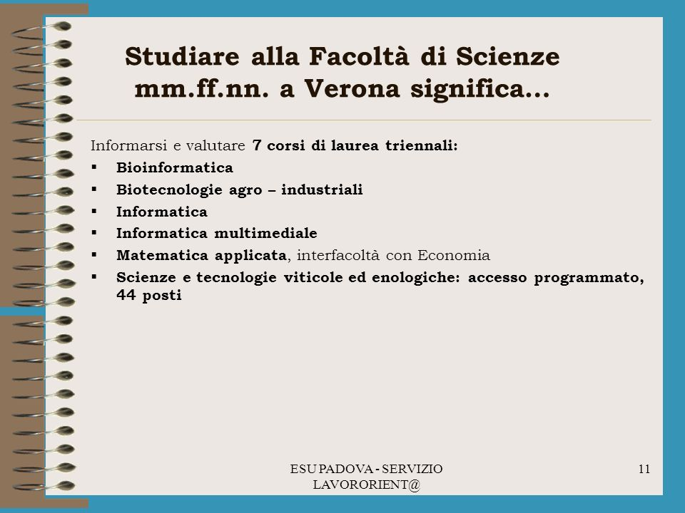 Studiare alla Facoltà di Scienze mm.ff.nn. a Verona significa…