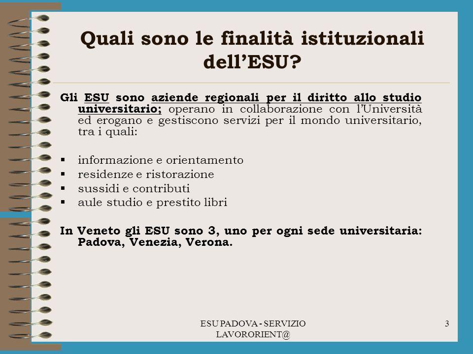 Quali sono le finalità istituzionali dell'ESU