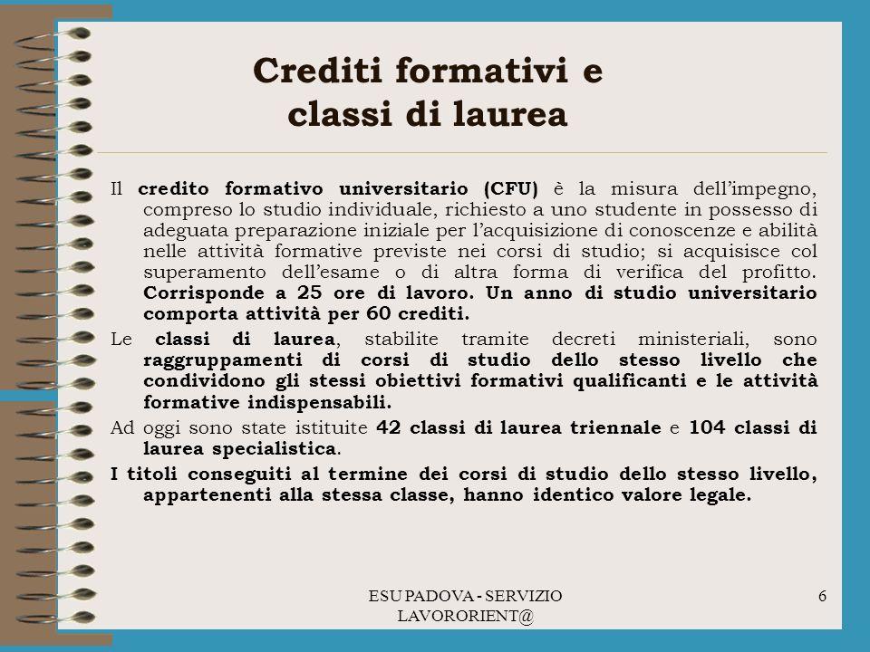 Crediti formativi e classi di laurea