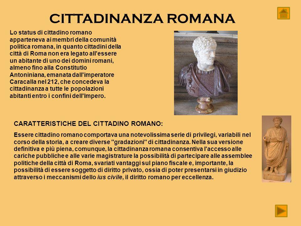 CITTADINANZA ROMANA CARATTERISTICHE DEL CITTADINO ROMANO: