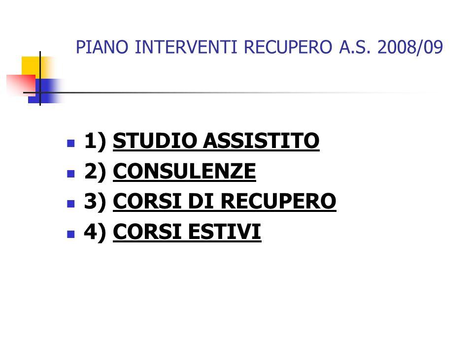 PIANO INTERVENTI RECUPERO A.S. 2008/09