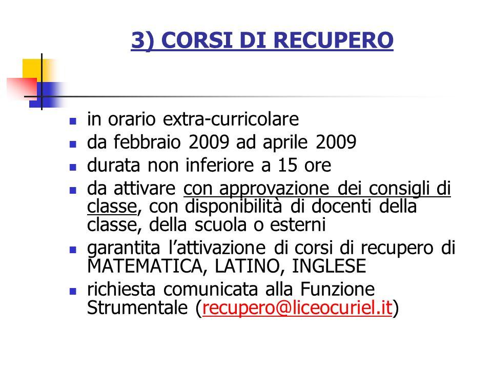 3) CORSI DI RECUPERO in orario extra-curricolare
