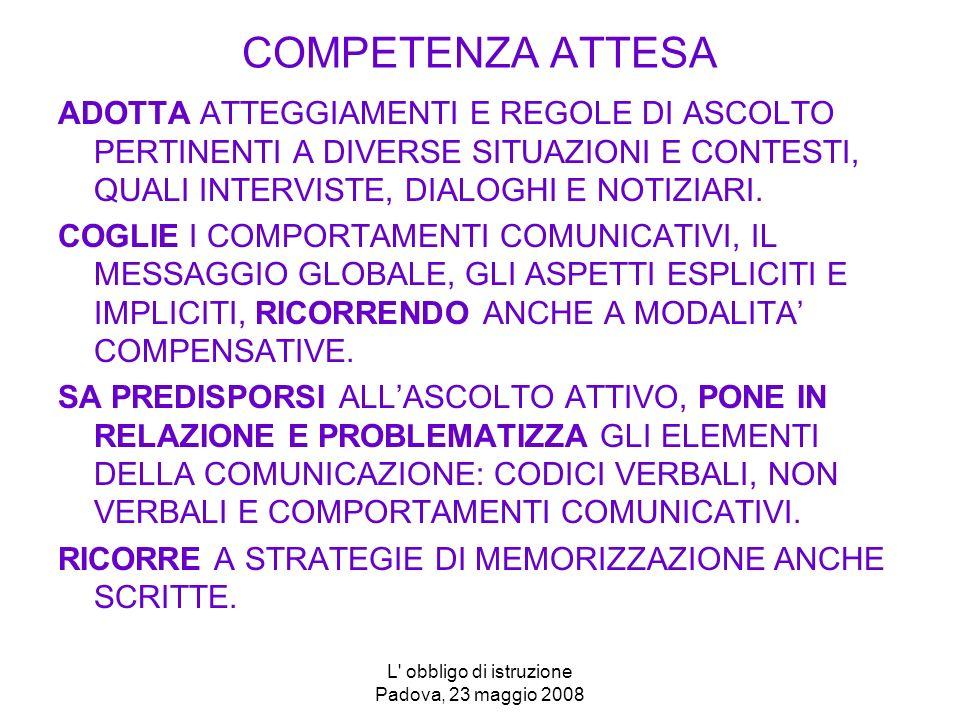 L obbligo di istruzione Padova, 23 maggio 2008