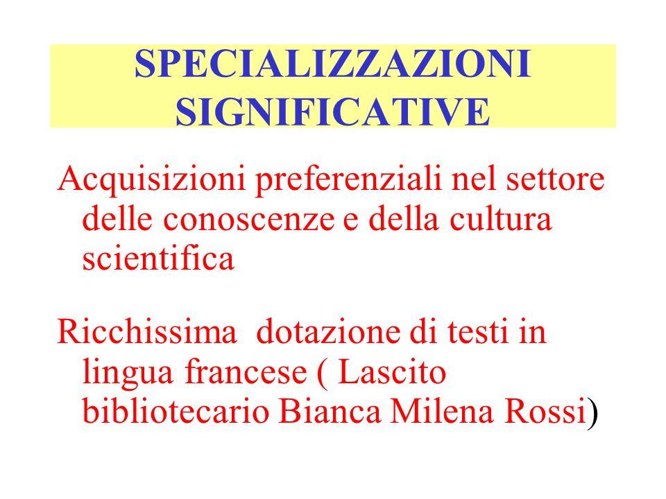 SPECIALIZZAZIONI SIGNIFICATIVE