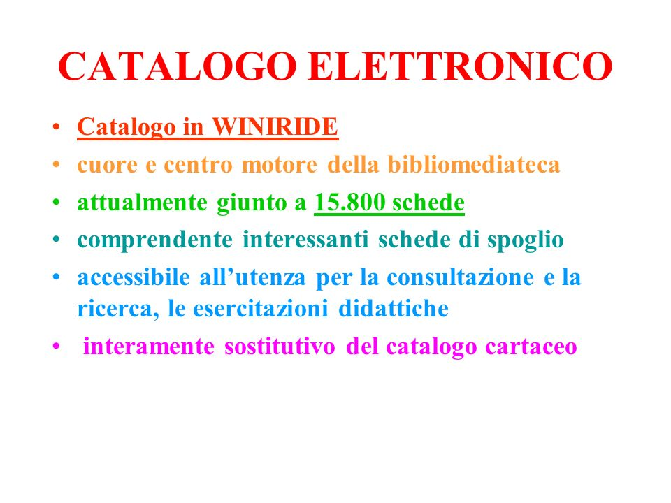 CATALOGO ELETTRONICO Catalogo in WINIRIDE
