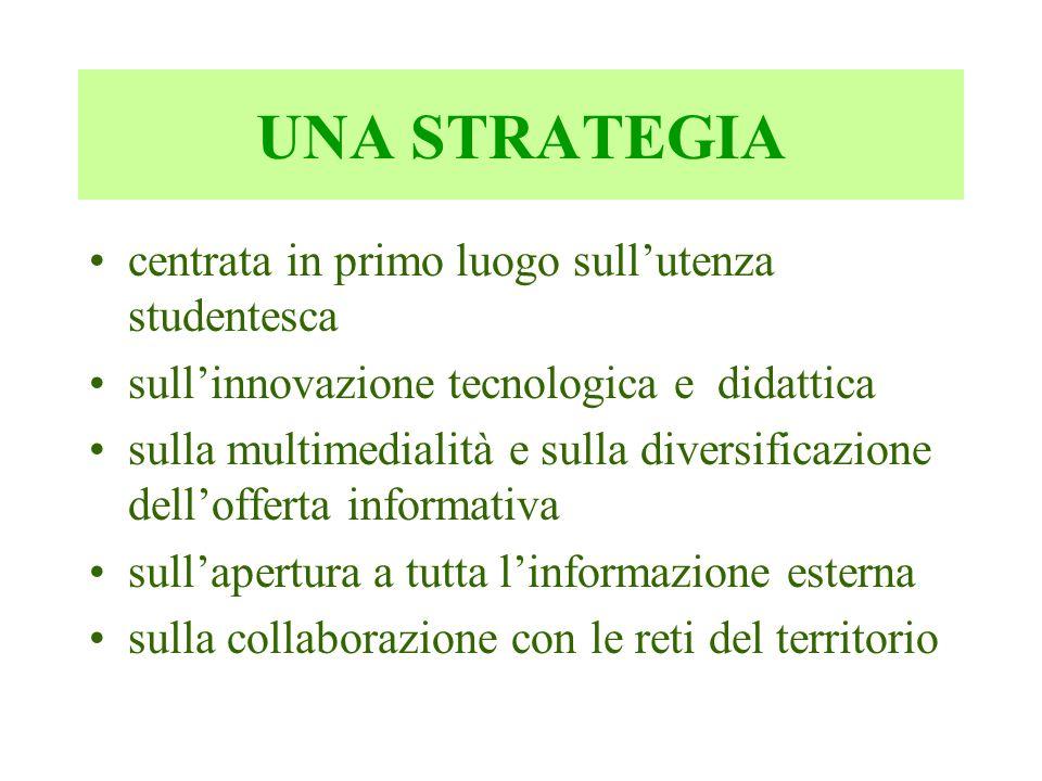 UNA STRATEGIA centrata in primo luogo sull'utenza studentesca