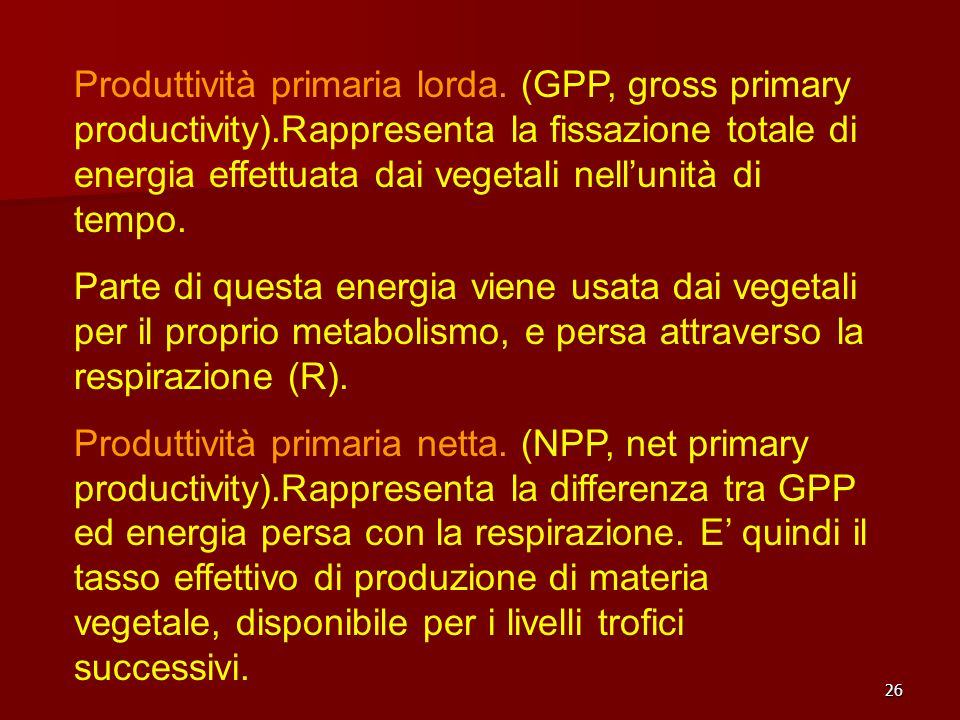 Produttività primaria lorda. (GPP, gross primary productivity)