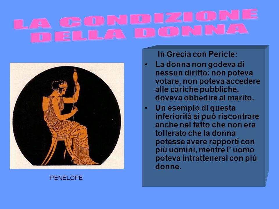 LA CONDIZIONE DELLA DONNA In Grecia con Pericle: