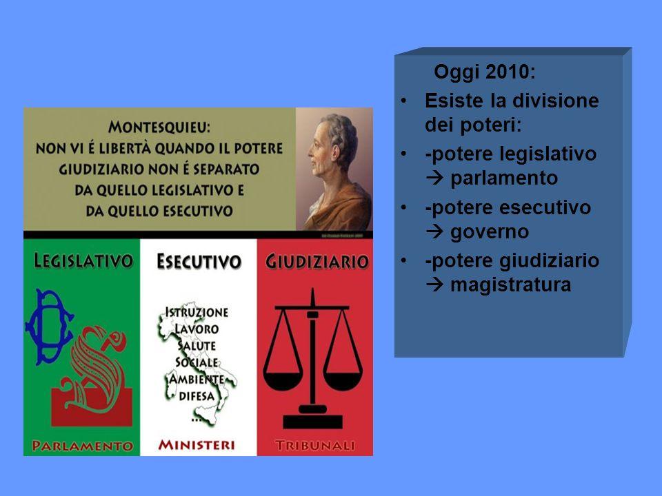 Oggi 2010: Esiste la divisione dei poteri: -potere legislativo  parlamento. -potere esecutivo  governo.