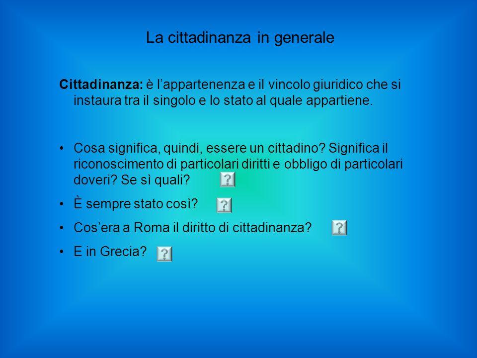 La cittadinanza in generale