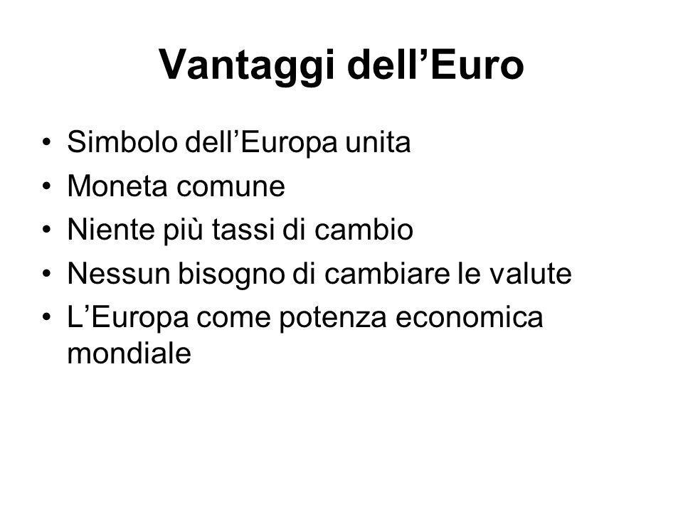 Vantaggi dell'Euro Simbolo dell'Europa unita Moneta comune