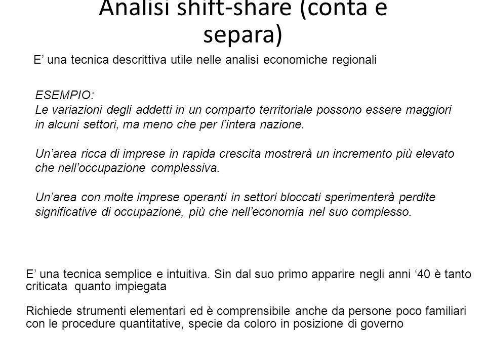 Analisi shift-share (conta e separa)