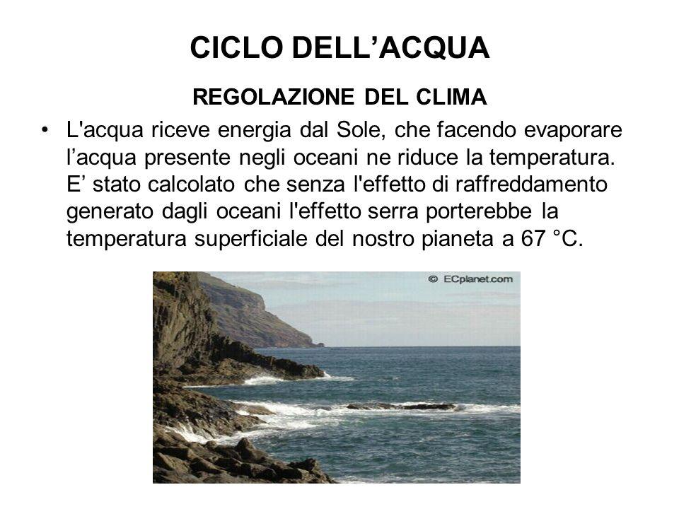 CICLO DELL'ACQUA REGOLAZIONE DEL CLIMA