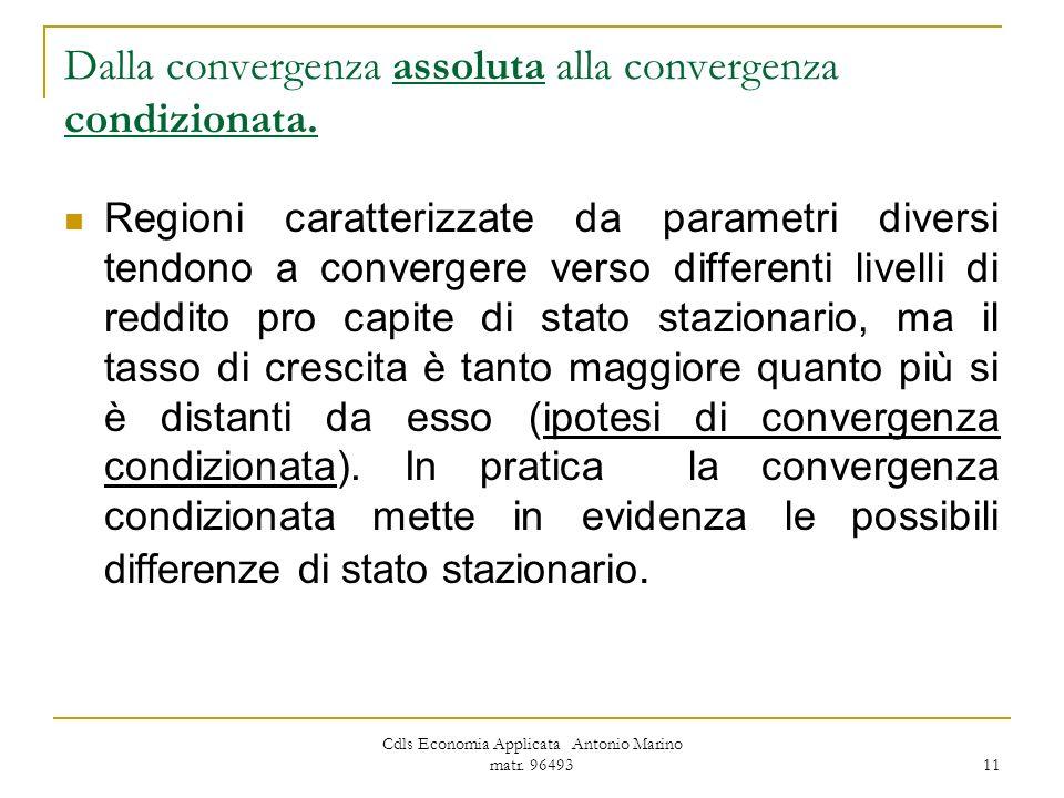 Dalla convergenza assoluta alla convergenza condizionata.