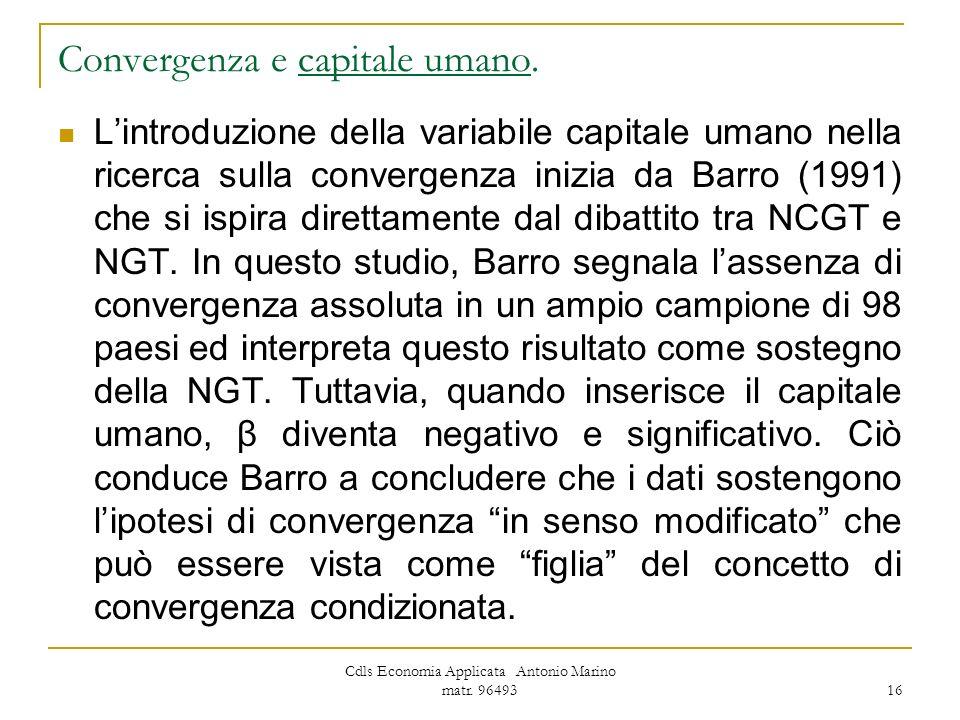 Convergenza e capitale umano.