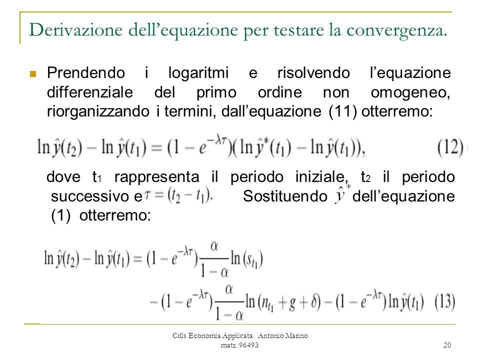 Derivazione dell'equazione per testare la convergenza.