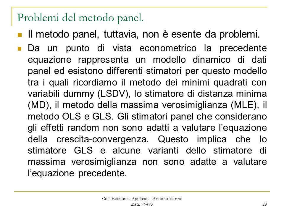 Problemi del metodo panel.