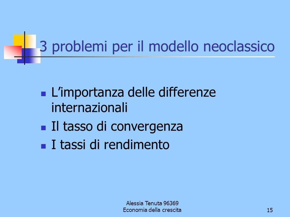 3 problemi per il modello neoclassico