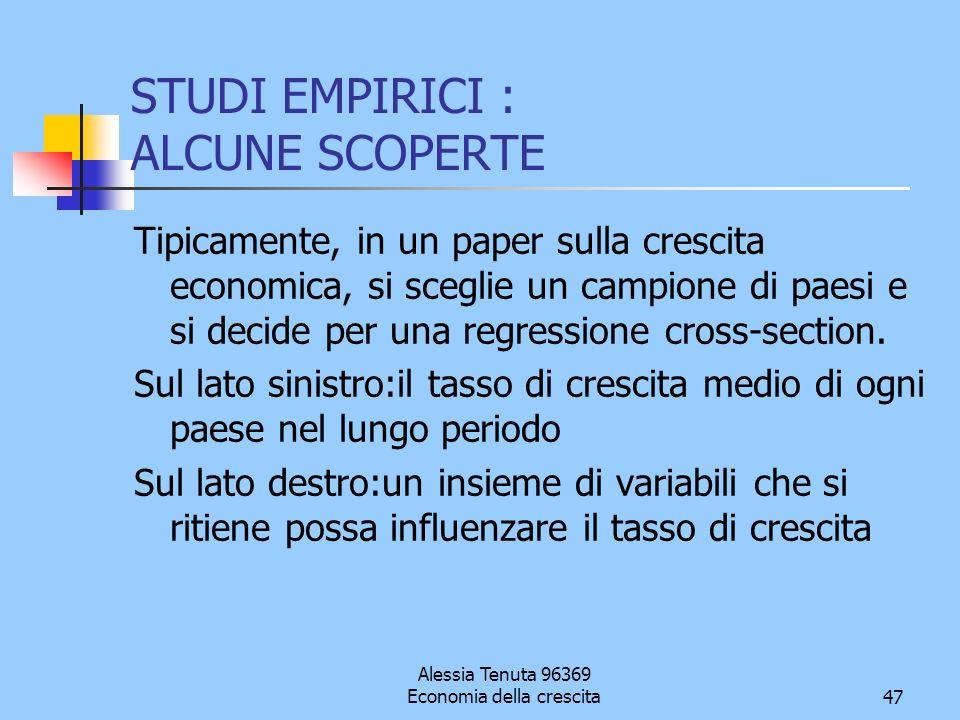 STUDI EMPIRICI : ALCUNE SCOPERTE