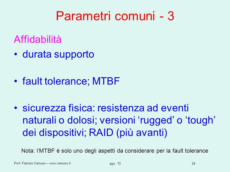 Parametri comuni - 3 Affidabilità durata supporto