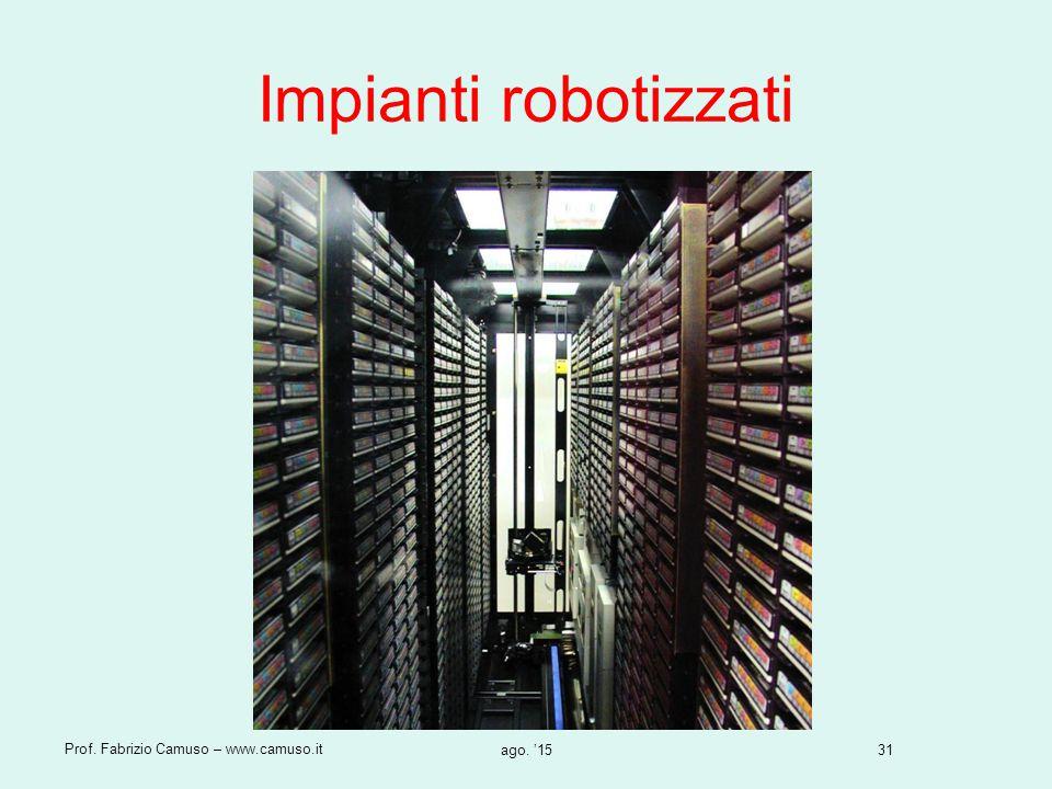 Impianti robotizzati Prof. Fabrizio Camuso – www.camuso.it apr. '17