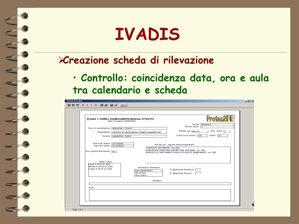IVADIS Creazione scheda di rilevazione
