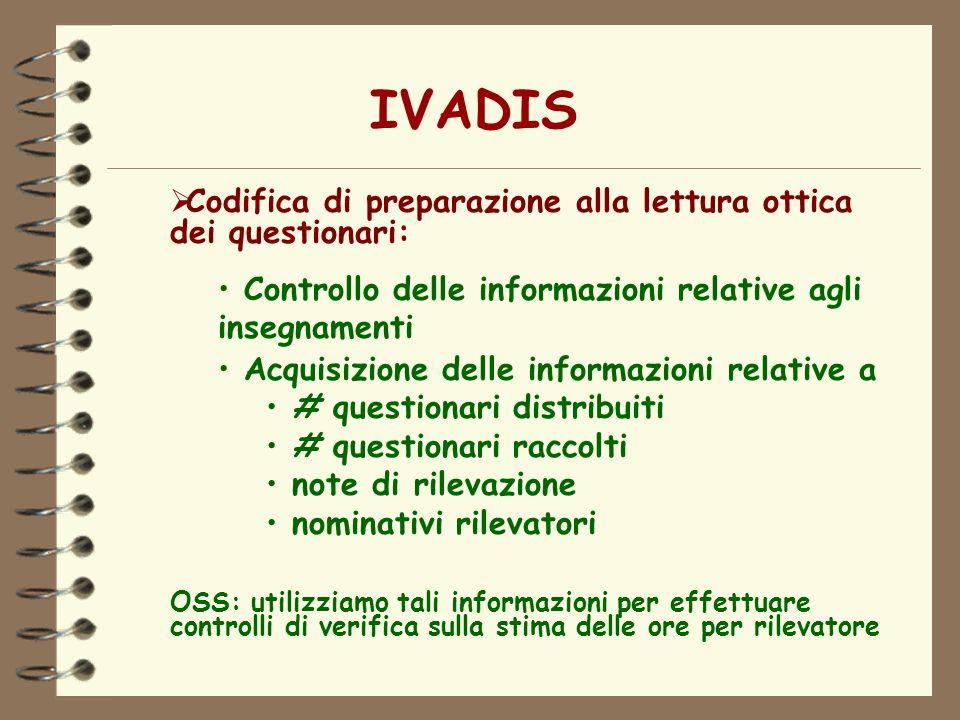 IVADIS Codifica di preparazione alla lettura ottica dei questionari:
