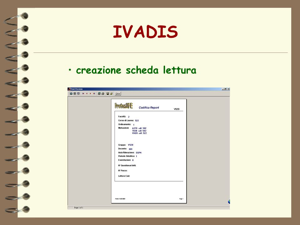 IVADIS creazione scheda lettura