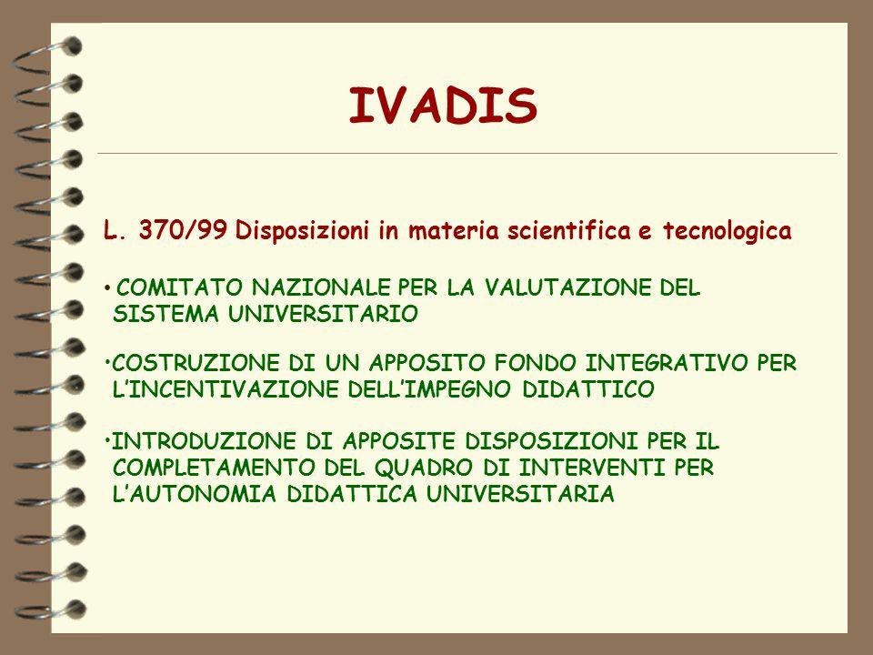 IVADIS L. 370/99 Disposizioni in materia scientifica e tecnologica