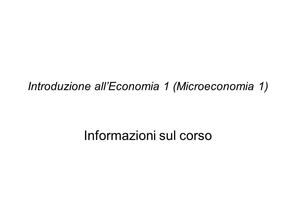 Introduzione all'Economia 1 (Microeconomia 1)