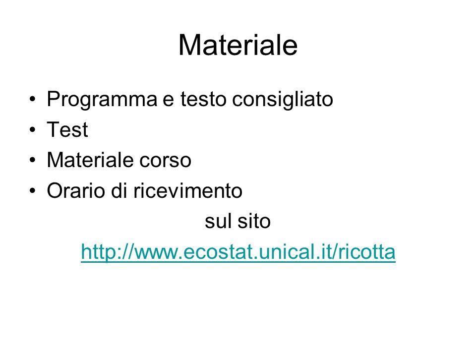 Materiale Programma e testo consigliato Test Materiale corso