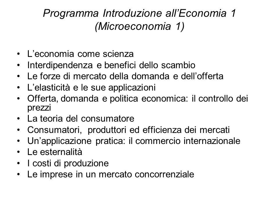 Programma Introduzione all'Economia 1 (Microeconomia 1)