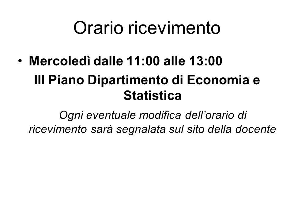 III Piano Dipartimento di Economia e Statistica